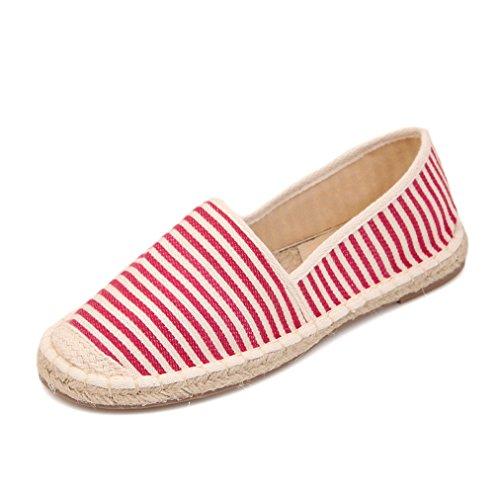 Damen Slipper Slip On Rundzehen Canvas Handy Nähte Freizeitschuhe Flache Streifenmuster Bequeme Leichtgewicht Schuhe Rot
