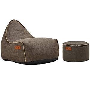 SACKit – RETROit Cobana Brown/White – Braun/Weiss Outdoor/Indoor Sitzsack & Sessel mit Lehne – Perfekt für die Lounge…