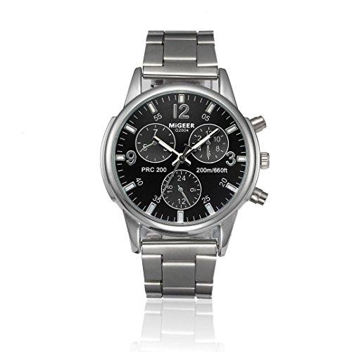 Herren Uhren 2018 Kristall Edelstahl Multifunktions Chronographen Analoge Quarz Armbanduhren Männer Schwarz/Blau/Weiß (Standard, Schwarz)