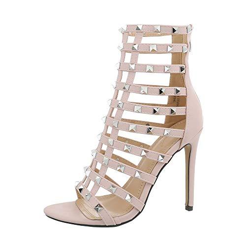 Ital-Design Damenschuhe Sandalen & Sandaletten High Heel Sandaletten Synthetik Hellrosa Gr. 35