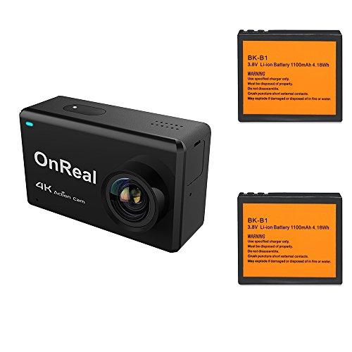 """OnReal Sport Kamera 4K 16MP Wasserdichte Wifi Sport Cam mit 2,45""""Touchscreen 170 Grad Weitwinkel Unterstützt Burst Mode Zeitraffer GYRO Anti Shake Sport Action Kamera"""