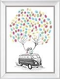 Wedding Tree Bulli personalisiert, Fingerabdruck-Baum Poster 29x42cm, Geschenk zur Hochzeit, Alternative zur: Wedding Tree Leinwand und zum Hochzeitsgästebuch