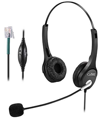 Callez C402A2 Telefon Headset RJ9 Dual Mit Noise Cancelling Mikrofon, Lautstärkeregler, Call Center Kopfhörer Für Festnetztelefone Plantronics ShoreTel Polycom Nortel Norstar Meridian ROLM Packet8 Nortel Meridian Norstar