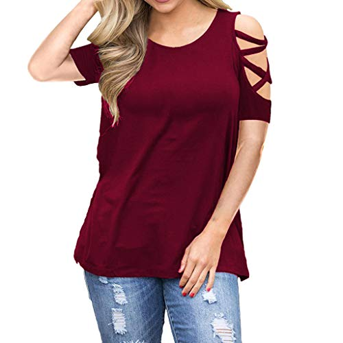 iYmitz Mode Frauen Kurzarm Damen Riemchen Kalte Aushöhlen Schulter Rundausschnitt Solide T-Shirt Tops Blusen Weste Oberteile (Weinrot,EU-36/CN-S)