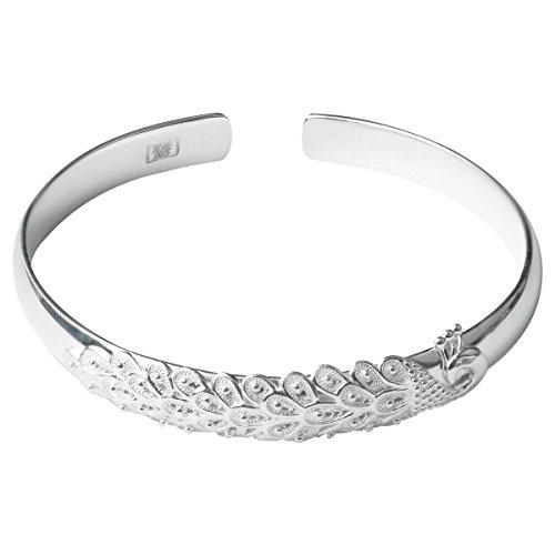 Weihnachten 20% Rabatt mecool S990 Multi Sterling Silber Pfau Armbänder Armreifen verstellbar Manschette Armbänder