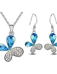 conjunto de joyas de diseño único regalo clásico de la mariposa de cristal pendientes elegante colgante de collar de novia