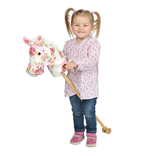 Pink Papaya Steckenpferd, Flower, süßes Spielzeug Pferd aus Stoff mit Sound Funktion: Gewieher und Galoppgeräusch - Farbe: Blumenmuster mit weißer Mähne