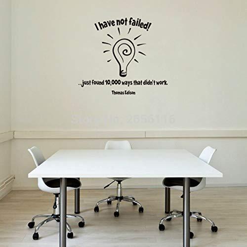 yiyiyaya Berühmte Thomas Edison Zitate Birne Wandaufkleber Ich Habe Nicht versagt Vinyl Wandtattoo für Home Office 43 * 50 cm