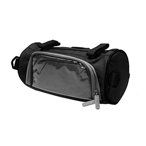 Hochwertige Fahrradtasche, Radfahren / Radsport Handytasche auf Lenker mit Touch-Screen, auch als Umhängetasche, Praktisch und Multifunktionell Schwarz - Rund
