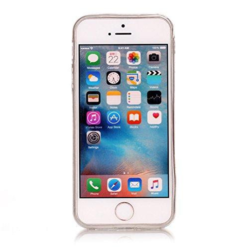iPhone 5 / 5s / SE Hülle, E-Lush TPU Soft Silikon Tasche Transparent Schale Clear Klar Hanytasche für iPhone 5 / 5s / SE Durchsichtig Rückschale Ultra Slim Thin Dünne Schutzhülle Weiche Flexibel Handy White Palace Blume