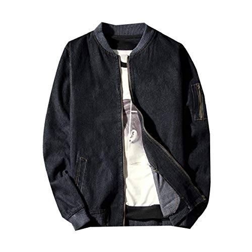 CuteRose Men Relaxed-Fit Fitness Washed Stand Collar Denim Jacket Outwear Black S - Joes Relaxed Fit Jeans