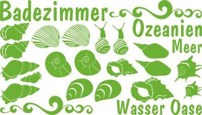Preisvergleich Produktbild Wandaufkleber Wandtattoo Tattoo Set für Badezimmer Spruch Badezimmer Muscheln (100x57cm//063 lindgrün)