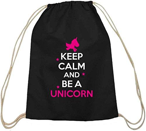 Shirtstreet24, Keep Calm And Be A Unicorn, Einhorn Baumwoll natur Turnbeutel Rucksack Sport Beutel schwarz natur