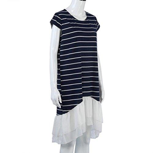 Bluestercool Femmes Robe décontractée en Mousseline de soie Robe rayée Irrégulière Plus Size Marine