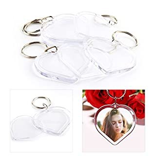 AllRight 100 Pcs Blank Keyrings Photo Keyring Acrylic Key Rings Heart 4.2 * 4.2cm
