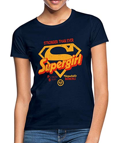 s Supergirl Logo Superkräfte Frauen T-Shirt, S (36), Navy ()