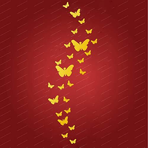 Wandaufkleber Acryl 25 Spiegel Schmetterling Wanddekoration der Wand 3d Aufkleber Wasserdicht Wandtattoo Wandgemälde Wohnzimmer Kinderzimmer Dekoration (11 * 11cm, GD) ()