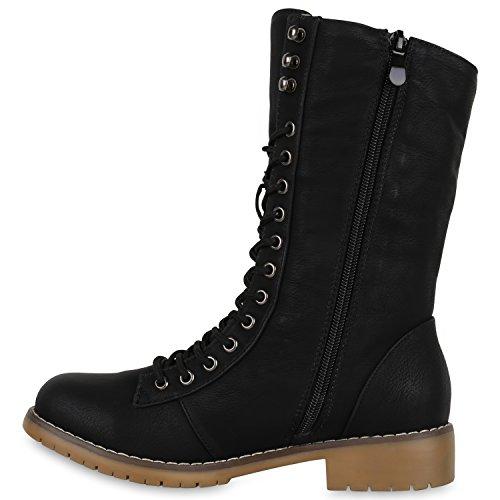Warm Gefütterte Damen Stiefeletten Worker Boots Stiefel … Schwarz Braun