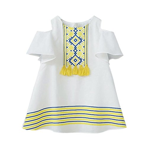 Anglewolf Toddler Baby Kids Girls Clothes Fashion Hollow Strapless Short Sleeve Long T-Shirt Tops Casual Party Dress Princess Dress O-Neck Soft Cotton Sundress For 2~7 Years Old Girls