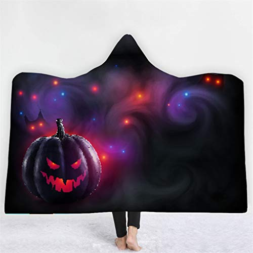 Cape Regal Kostüm - Mit Kapuze Decke, Chshe, Halloween Digital Print Mit Kapuze Decke Phantasie Cape KostüMe, Winter Warm Double Layer KüRbis Fledermaus Hexe Horror Dicker Umhang 150X200Cm(F)