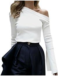 QinMM Blusa de Mujer con Hombros Descubiertos, Manga Larga T-Shirt Camiseta