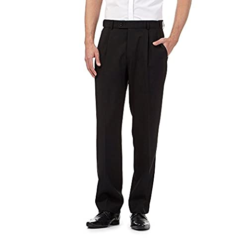 The Collection Mens Black Pleated Regular Trousers With Active Waistband 36S