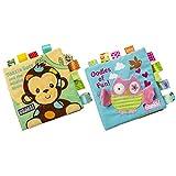 Yuccer Stoffbuch für Babys, 2 PCS Knisterbuch Baby für Kinder von 0-6 Jahr Stoff Quiet Book (AFFE + Eule)