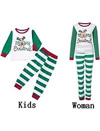 K-youth Conjunto de Pijamas Ropa Familiar Navidad Fiesta Elk Hombre Mujer  Niños Niña Camisetas Manga Larga Blusa Tops y Pantalones Padre Hijo… e1fcc30a4f50