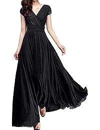 35250d4a69b7 BOLAWOO-77 Abito da Donna in Chiffon da Elegante Donna con Mode di Marca  Scollo A V Abito da Sera Abito Lungo…