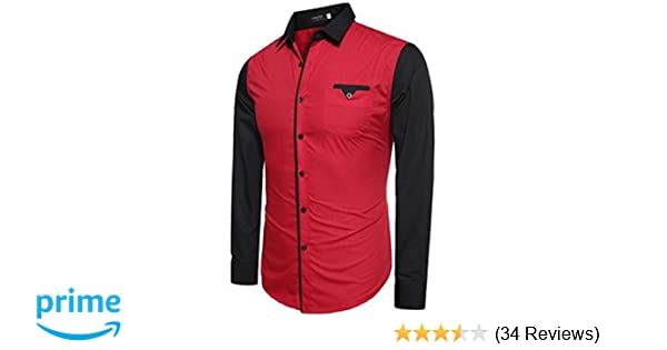 ff566c6db9eb4 UD FABRIC Red and Black Casual Cotton Shirt For Mens  Amazon.in  Clothing    Accessories