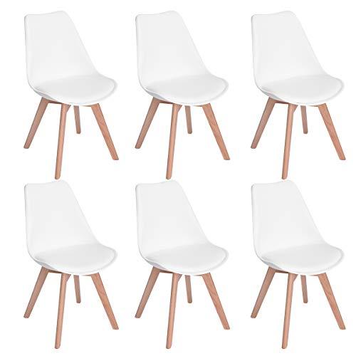 EGGREE 6er Set Esszimmerstühle mit Massivholz Buche Bein, Retro Design Gepolsterter Stuhl Küchenstuhl Holz, Weiß -