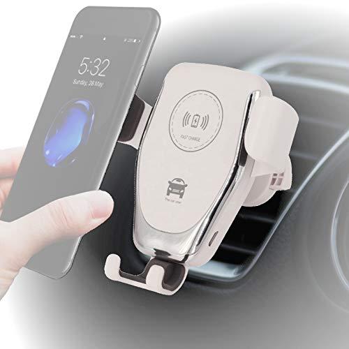 Auto-Handyhalterung mit kabellosem Ladegerät, Wireless Car Mount Charger, Induktionsladegerät für alle iPhone, Samsung Galaxy, Huawei, LG mit Qi Standard (weiß) Fast Charging -