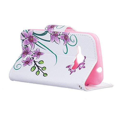 Cozy Hut® Samsung Galaxy J1 (2016) SM-J120F Housse, Ultra-mince Etui En Cuir PU Flip Cassette Intérieur Pour Cartes Pour Samsung Galaxy J1 (2016) SM-J120F New Mode Fine Folio Wallet/Portefeuille + Sta Papillon Fleur rose