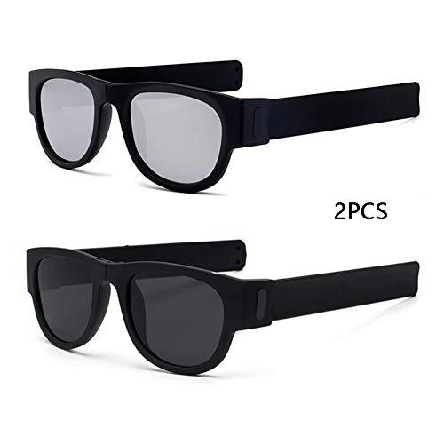 DASGF Polarisiert Sonnenbrille,2PCS,Sport Sonnenbrille,Sportbrille,Radbrille Mit UV400 Schutz FüR Unisex,FüR OutdooraktivitäTen Wie Radfahren Laufen Klettern Laufen Angeln,Faltbare Armband Design,D