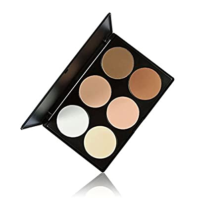 Pressed Powder Palette, TOFAR 6 Colours Face Powder Contouring Kit Cosmetics Highlighter Foundation Corrector Professional Contour Palette Makeup Kit from TOFAR