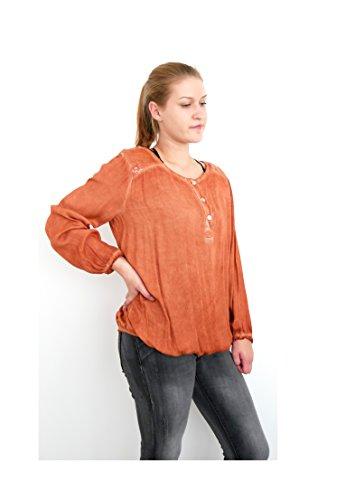Basic Outfit Langarm Blusenshirt Knopfleiste Pailletten Oversize Style Tunika Shirt Bluse Top washed Optik M L 38 40 42 (8377) (rost orange) (Ferien Party Kostüme Ideen)