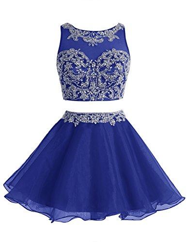Dresstells Robe courte de soirée de cocktail Robe de demoiselle d'honneur emperlée deux pièces Bleu Saphir