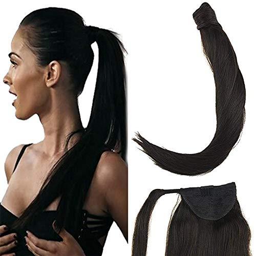 Laavoo 14pollice nero naturale clip on extensions remy human hair liscio corto 80g coda capelli extension naturali clip invisibile