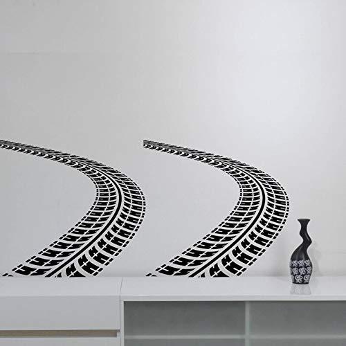 yiyitop Reifenspuren Wandaufkleber Auto Spur Vinyl Aufkleber Kunst Straßenrennen Dekorationen für Haus Reinigungsmittel Jungen Zimmer Schlafzimmer 89 * 42 cm