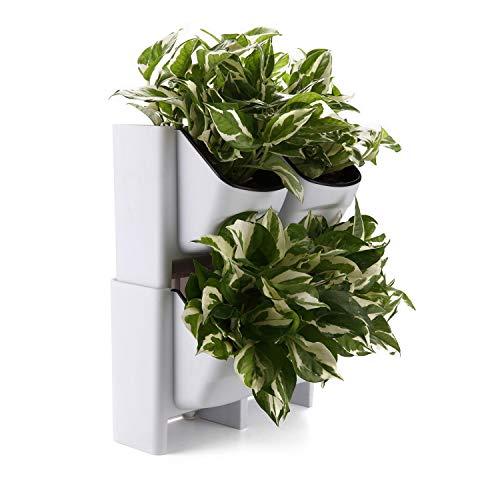 comsaf giardino verticale bianco plastica set di 2, auto-irrigazione fioriere impilabili un vaso per piante a 2 tasche per matrimonio compleanno casa e ufficio decorativo