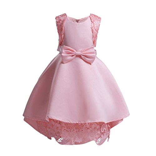 YuanDian Bambine Matrimonio Abiti da Damigella Cerimonia Senza Maniche Cravatta A Farfalla Compleanno Partito Bimba Comunione Vestiti Abito 3-10 Anni Rosa 110#