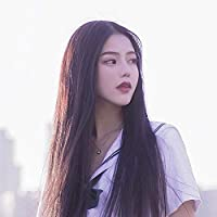 CXQ wig long straight hair bangs wig headgear - gray