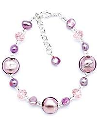 Amanti Venezia Light Purple Freshwater Pearl, Clear Crystal and Genuine Murano Heart Bracelet of 21.5cm