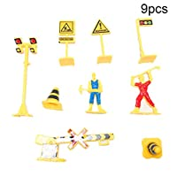 Whiie891203 Puzzle IQ Game Educational Toys,9Pcs English Road Traffic Sign Signage Block Toy DIY Miniature Scene Accessory for Kids Birthday & Christmas Gift Choice