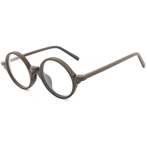 SHEEN KELLY Holz Gläser Jahrgang Klassische Brillen Bambus Rahmen Holzmaserung Unisex runden Brille Transparent