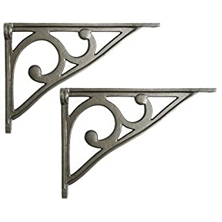 Pair of Cast Iron Scroll Shelf Brackets (8