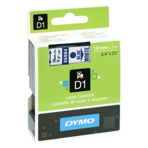 Dymo S0720840 D1-Etiketten (Selbstklebend, für den Drucker LabelManager, 19 mm x 7 m Rolle) blau auf weiß