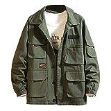 Giacca Militare da Uomo Cardigan Cappotto con Tasca Anteriore Aperto Pullover Maglione Caldo Sportiva Manica Lunga Camicia Maglia Autunno Inverno Abbigliamento Casual Sport Outwear Cappotto Cotone