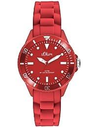 s.Oliver - SO-2570-PQ - Montre Mixte - Quartz Analogique - Aiguilles Lumineuses - Bracelet Silicone Rouge