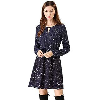 Allegra K Women's A-line Choker Long Sleeve Star Print Casual V Neck Dress Blue M (UK 12)
